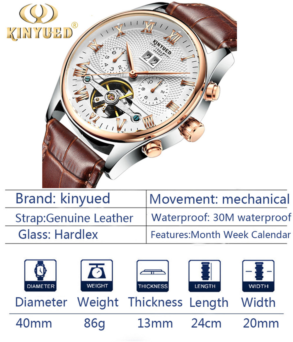 HTB1fOGragFY.1VjSZFqq6ydbXXam KINYUED 2019 Skeleton Tourbillon Mechanical Watch Automatic Men Classic Rose Gold Leather Mechanical Wrist Watches Reloj Hombre
