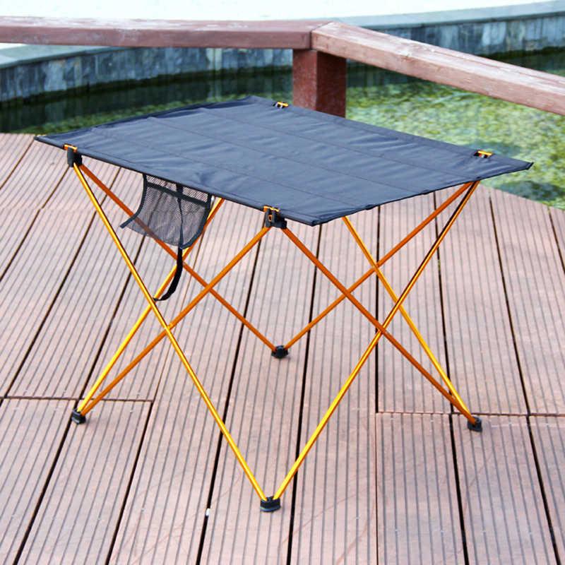 Mesa de Camping plegable al aire libre Asamblea DIY Picnic escritorios portátil antideslizante de ocio viajar Material de aluminio de sillas plegables