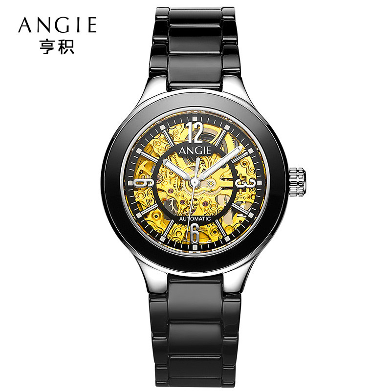 ANGIE Aliexpress Luxury Mechanical font b Watches b font Women Ceramics Sapphire Crystal Ladies Skeleton font