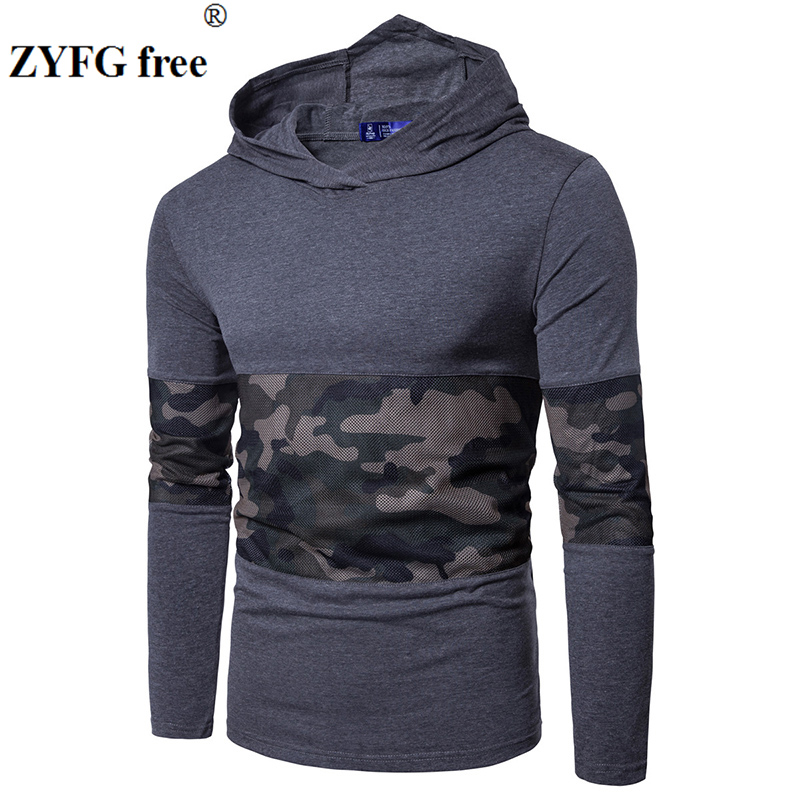 Hoodies Men 2018 Brand Male Long Sleeve Hooded Sweatshirt mesh cloth patchwork Hoodie Tracksuit Sweat Coat Casual Sportswear