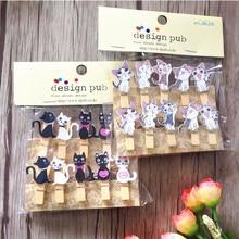100 teile/los Nette katze holz clips mit hanf seil Spezielle Geschenk Holz Clip Mini Tasche Clip Papier Clip holz pegs schüler DIY Werkzeuge