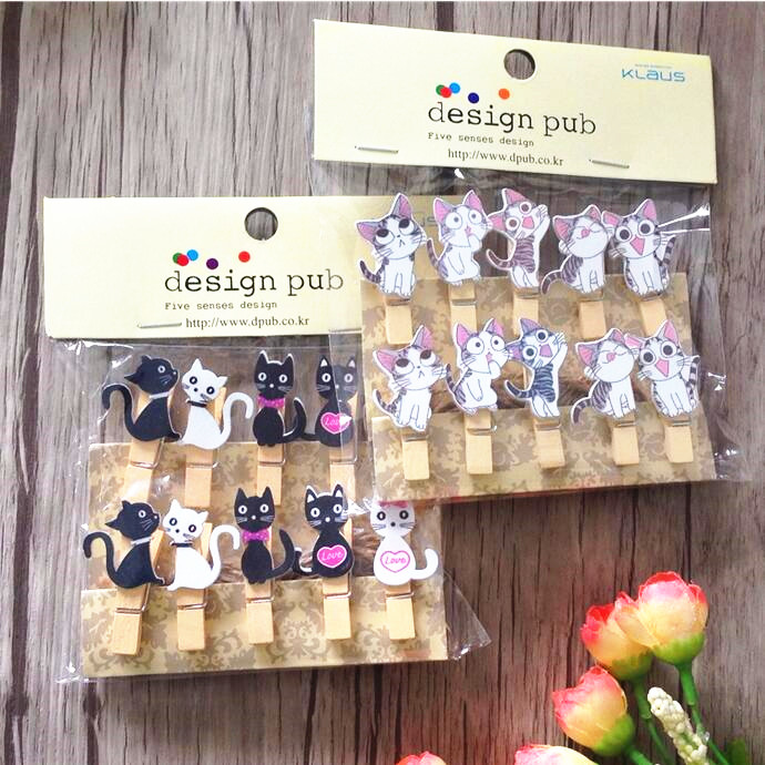 100pcs/lot Cute Cat Wooden Clips With Hemp Rope Special Gift Wooden Clip Mini Bag Clip Paper Clip Wood Pegs Students' DIY Tools