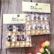 100pcs/lot Cute cat wooden clips with hemp rope Special Gift Wooden Clip Mini Bag Clip Paper Clip wood pegs Students DIY Tools