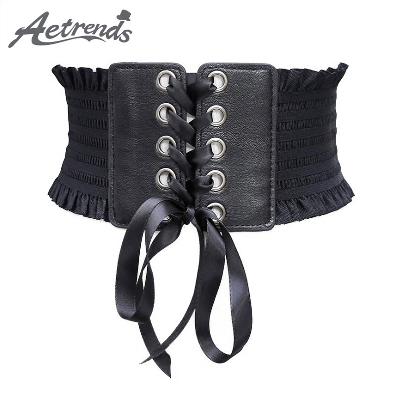 [AETRENDS] Retro Women Slim Cinch Belt Elastic Waist Strap Wide Belts Stretch Waistband Fashion Lady Bow Tie Cummerbunds D-0104