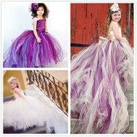 2018 Beyaz Mor Elbiseler Kız Yaş için 11 12 13 14 yıl Kız Elbise Töreni Elbisesi Nedime için Bulut Çocuk Maxi Elbiseler çocuklar