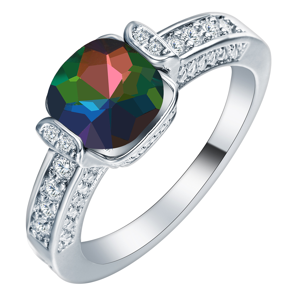 Gift silver color promise Rings for lover rainbow stone jewelry special colorful aaa cubic zircon women Party Ring drop shipping