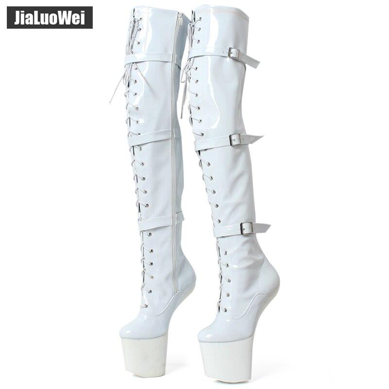 Jialuowei bottes hautes à lacets talon haut extrême fétiche Heelless cheval étalon semelle de sabot sur genou bottes entrejambe bottes hautes