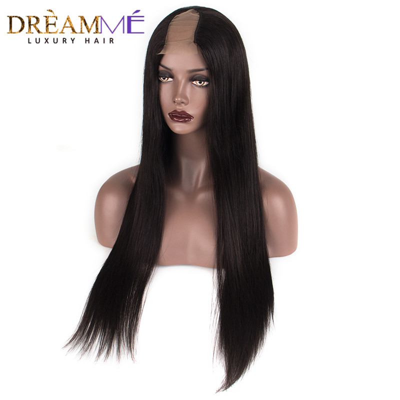 Straight Hair 2 x4 Middle Part U Part Human Hair Wigs For Black Women Brazilian Remy