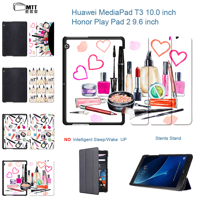 Makeup Gouache PU Leather Cover Flip Triflod Case for Huawei MediaPad T3 10 AGS-L09 AGS-L03 Honor Pad 2 9.6 inch Tablet PC case