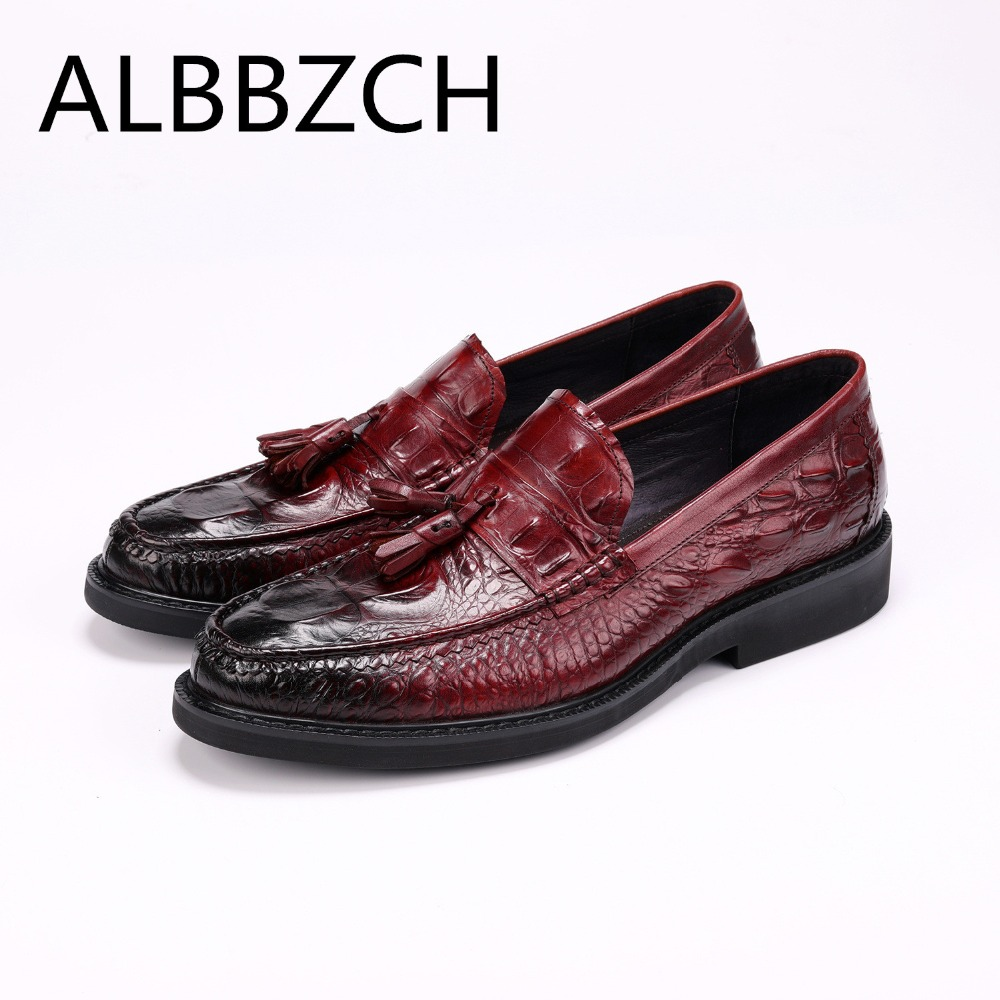 New crocodile pattern tassel men shoes oxford business leisure party dress shoes mens slip-on genuine leather suit wedding sheos