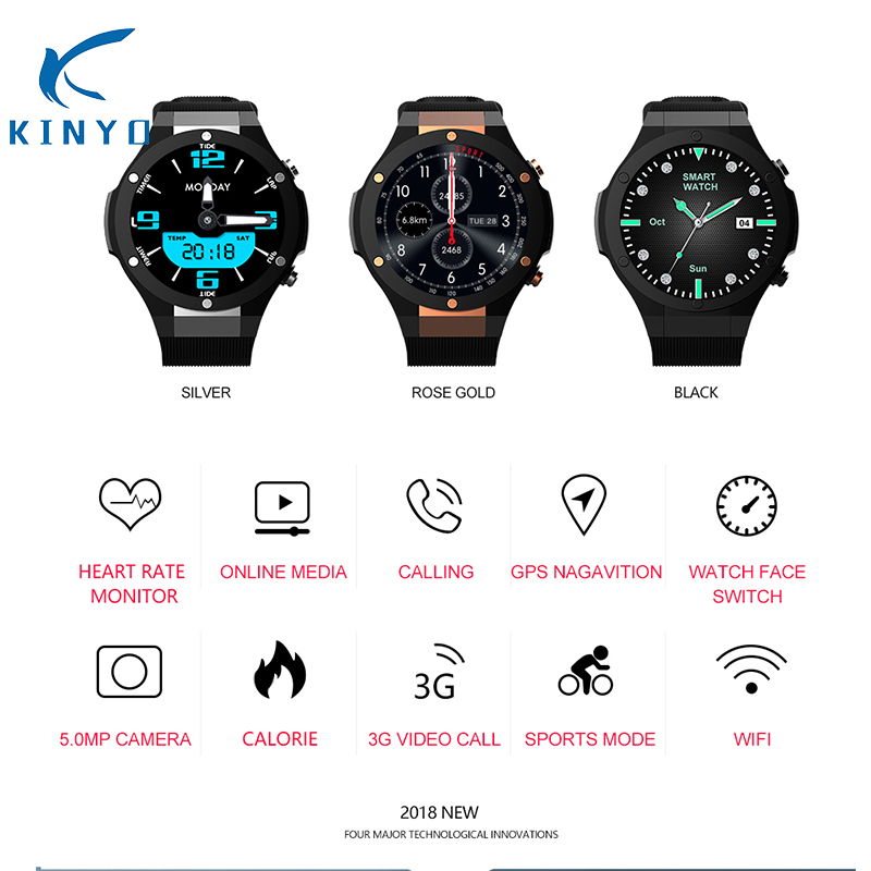 2018 smartwatch android ios smart watch men heart rate 24h support nano sim card wristwatch 3G video call GPS WIFI pk kw88 sw007 kw88 smart watch android 5 1 os quad core 400 400 smartwatch mtk6580 support 3g wifi nano sim card gps heart rate wristwatch