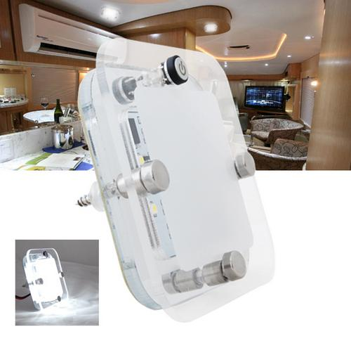 Nueva lámpara 12V DC Cool White / Warm White LED Techo de cristal Luz de techo Caravan / RV / Car / Motorhome / Marine lighting