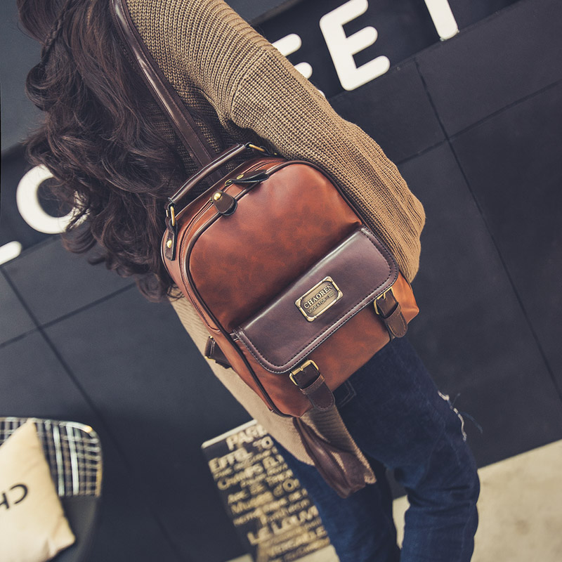 Women backpack female brand back pack college style leather backpack school backpacks vintage student schoolbag retro