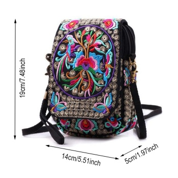 Ethnic Embroidery Bag Vintage National Embroidered Canvas Mobile Phone Small Coins Purse Bags Shoulder Sling Bags 1