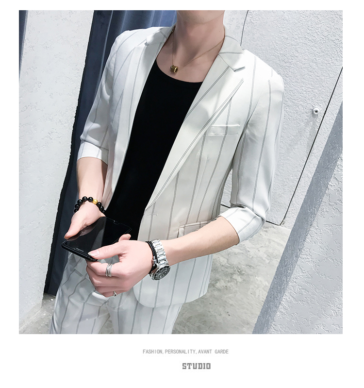 HTB1fOHbRwDqK1RjSZSyq6yxEVXak custom Small Size Men's Wear Summer 2019 New Men's Middle Sleeve Suit Stripe Two piece Fashion Japanese Slim Suit