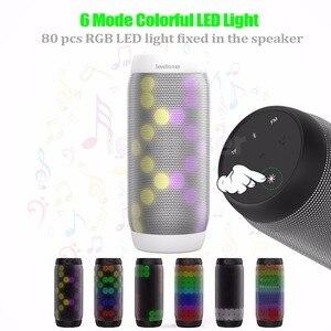 Image 3 - lewinner colorful Waterproof LED Portable Bluetooth Speaker BQ 615 Wireless Super Bass Mini Speaker with Flashing Lights FM