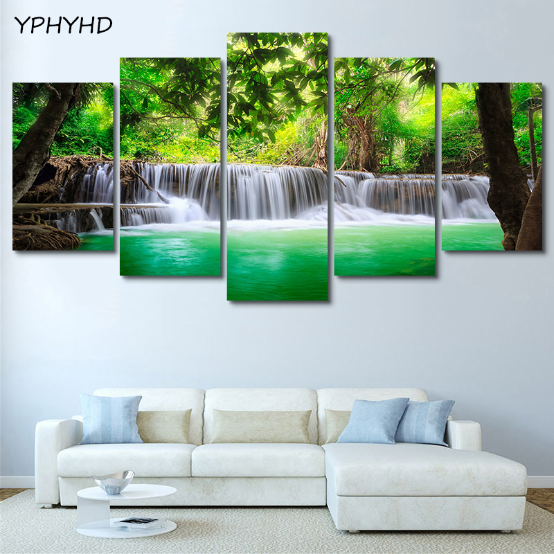 YPHYHD Print HD Home Decor Poster Frame 5 Piece Nature Forest Green Lake Waterfall Painting Canvas Pictures Living Room Wall Art