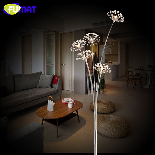 FUMAT Crystal Floor Lamp Modern Crystal Floor Light For Living Room Bedside  LED Flower Stand Lamp