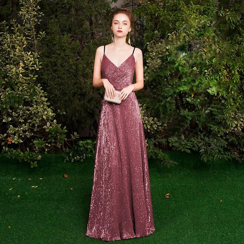 weiyin Black Long   Evening     Dresses   Floor Length V Neck Shine Sequin Sparkle Elegant Women 2019   Evening   Party Gowns WY1287