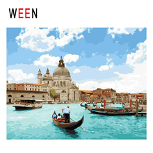 WEEN Venice Boat Diy Painting By Numbers Abstract Town Sea Oil On Canvas Sky Cuadros Decoracion Acrylic Wall Art 2018
