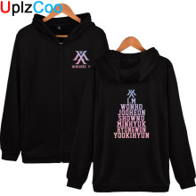 UplzCoo Monsta X Hoodies Jonge Mannen Vrouwen Hip Hop Zip up Jassen Jongens Herfst Winter Harajuku Afdrukken Sweatshirts 4XL OA071(China)
