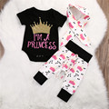 New Infant Baby Girls clothes Crown Tops Rompers Pants Leggings 3pcs Outfits baby clothing Set Twinset