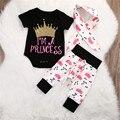 Novo Infantil Do Bebê Meninas roupas Tops Coroa Macacão Calças Leggings 3 pcs Roupas Conjunto de roupas de bebê Twinset