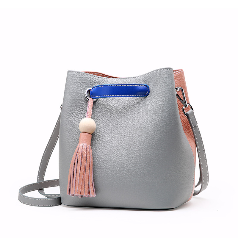 Summer new women genuine leather handbags Hit color bucket bags Casual fashion first layer cowhide  lady shoulder messenger bags fashion leather handbags luxury head layer cowhide leather handbags women shoulder messenger bags bucket bag lady new style