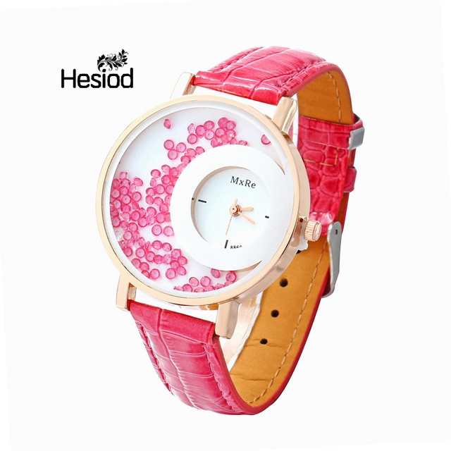 ff144a8952add Girl s Fashion Wristband Women Watches Leather Strap Crystal Beads Inside  Round Dial Relogio Feminino Quartz Watches