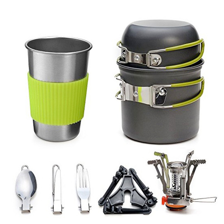 Outdoor portable Camping Tableware 7pcs Set Hiking Picnic Backpacking Travel Cooking Cookware stove Pot Pan Bowl Fork Sets