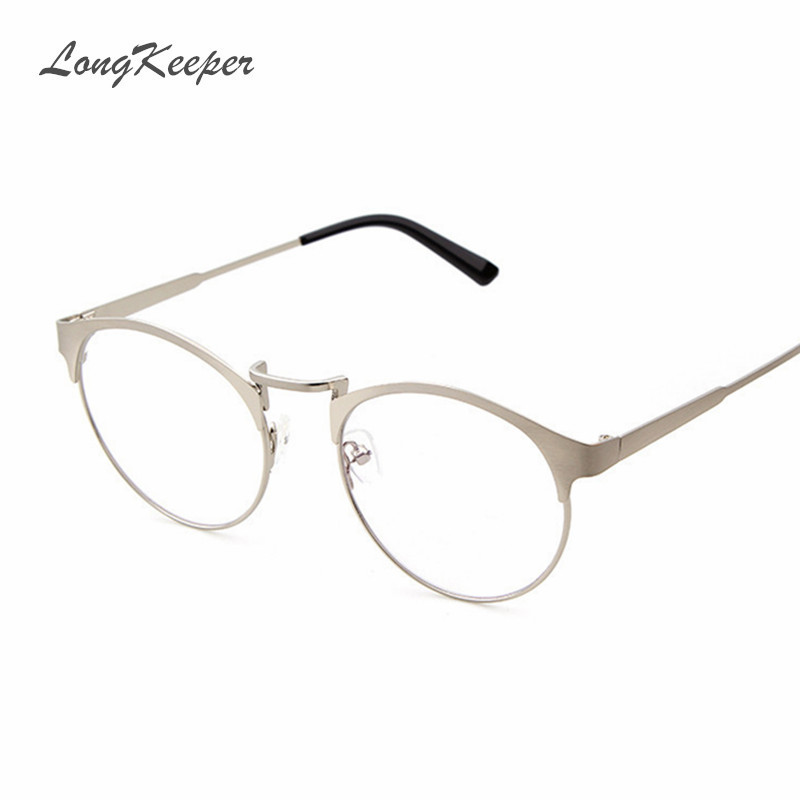 LongKeeper Brand Design Women Men Glasses Frame Optical Frames Oval Round Rim Clear lens Eyeware Metal oculos de grau 5312