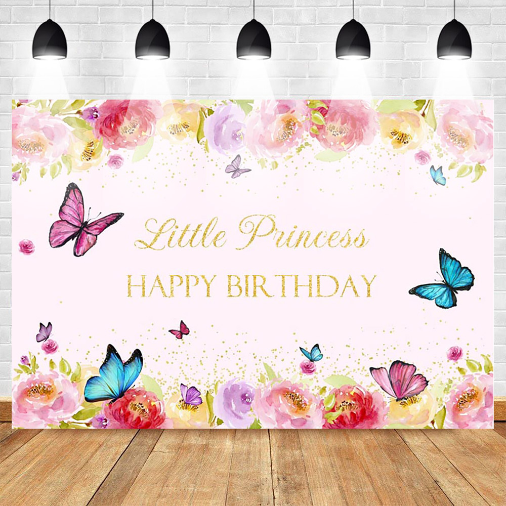 Happy Birthday Photo Background for Little Princess Flower Backdrop Butterfly Baby Party Banner Backgrounds Gold Sequins Spring-in Background from Consumer Electronics