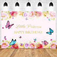 Happy Birthday Photo Background for Little Princess Flower Backdrop Butterfly Baby Party Banner Backgrounds Gold Sequins Spring