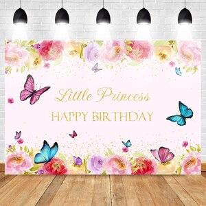 Image 1 - Joyeux anniversaire Photo fond pour petite princesse fleur toile de fond papillon bébé fête bannière arrière plans or paillettes printemps