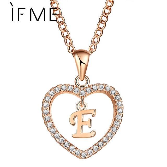 IF ME Initial E Letter Heart Crystal CZ Necklaces & Pendants Women