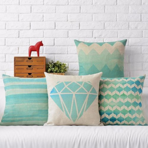 geometric abstract aqua blue diamond zig zag stripes linen cushion cover decorative throw pillow case home