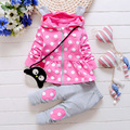 2017 new Spring & autumn baby boy girl clothes Long sleeve Top + pants 2pcs High Qulity Dot Print Hooded Set infant clothing