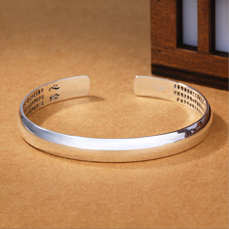 Real Pure 999 Silver Buddhist Heart Sutra Bangle Glossy Cuff Bracelet Femme Argent Scripture Bracelet Chinese Religious Jewelry