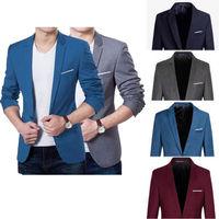 Męskie koreański Slim Fit moda jeden bawełniana marynarka garnitur kurtka czarny niebieski Plus rozmiar M do 3XL mężczyzna Blazers mężczyzna płaszcz ślub