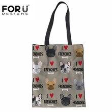 FORUDESIGNS Women Canvas Shopping Bags French Bulldog DIY Print Fashion Totes Shoulder Versatile Sack Summer Beach Girls Handbag