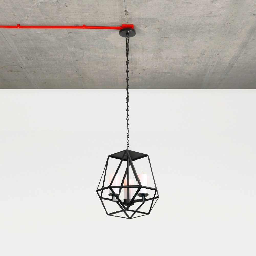 Nordic Retro Iron&Resin Shade Material Hand Painted Pendant Light Classic Black Drop Lamp For Home Decoration 3 Heads E14