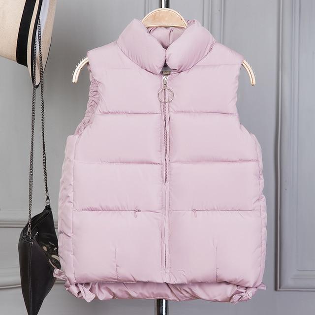 TUYẾT ĐỈNH CAO 2018 Phụ Nữ mùa đông vest Giản Dị Mùa Thu Ấm dày Ngắn Tay áo ghi lê Nữ Bông Độn vest M-3XL
