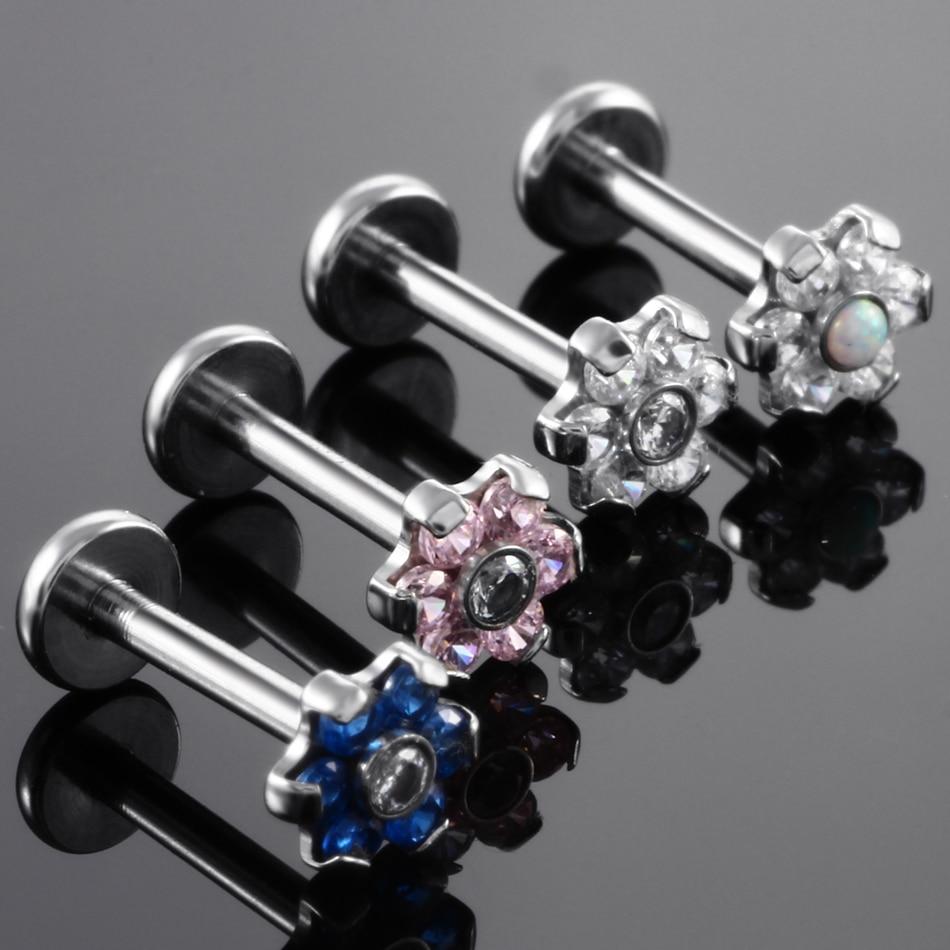 Best Labret Piercings: 1PC 16G Steel Internal Thread Flower Top Labret Lip Stud