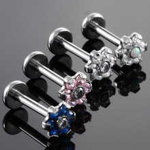1PC 16G Steel Internal Thread Flower Top Labret Lip Stud Rings Crystal Lip Piercing Tragus Earring Piercings Sexy Body Jewelry(China)