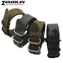 Haute Qualité armée vert et gris Véritable OTAN En Cuir Montre bretelles Bracelet pour Militaire Montre 20mm 22mm 24mm 26mm Brosse boucle