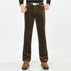 Image 3 - Autumn and winter Corduroy pants men business casual pants loose elastic middle aged straight pants thicken corduroy trousers