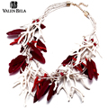 VALEN BELA Europe Popular Jewelry Feather Design 2 Color Bib Statement Necklace For Women Big Choker Collar Necklace XL1563