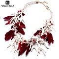 Valen bela europa populares de plumas de joyería de diseño 2 color bib declaración collar para las mujeres grandes choker collar collar xl1563