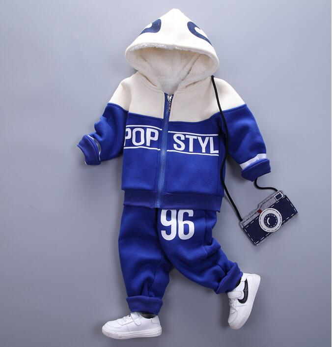 Children s new winter indoor sports clothing cotton coat trousers baby casual clothing Plush velvet warm