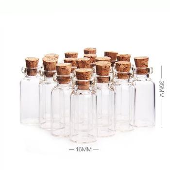 10 sztuk partia 16*35mm 2 ml przezroczyste szklane butelki fiolki słoiki z korkową zatyczką korek DIY ślubny wystrój domu słoiki szklane butelki do życzeń tanie i dobre opinie Europa Szkło NoEnName_Null 16x35x7mm 2ml Flower